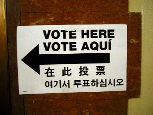 A multilingual voting sign