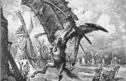 Don Quixote tilting at windmills. Engraving by Gustave Doré.