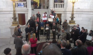 RI Payday Lending Reform press conference, RI State House (photo by author)