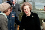 Prime Minister Margaret Thatcher of England is bid farewell on her departure after a visit to the United States.