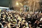 Police clash with Black Block protestors.
