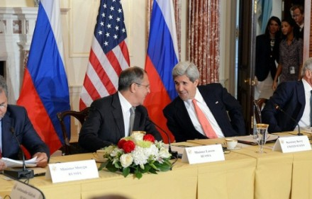 Secretary of State John Kerry and Russian Foreign Minister Sergei Lavrov meet in August 2013. U.S. Department of State Photo, Public Domain.