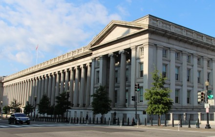 U.S. Treasury Building. Rchuon24, Wikimedia Commons, Creative Commons License.