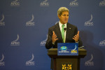 Secretary Kerry addresses the media at the annual APEC meeting. U.S. Government Work.