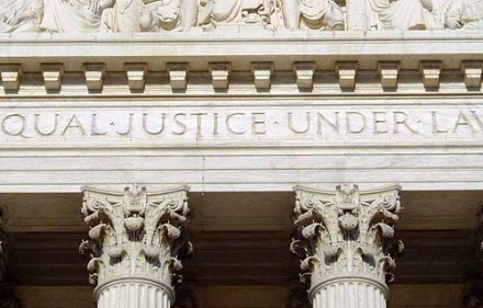 """Will The Nine uphold this phrase, inscribed on the Supreme Court, in their 2013-2014 term? By """"UpstateNYer."""" Wikipedia, Creative Commons license."""
