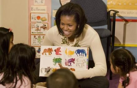 Michelle Obama reading to schoolchildren. Wikimedia Commons