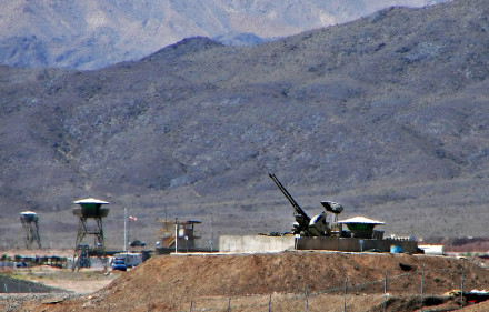 Anti-aircraft guns at Natanz, an Iranian nuclear facility. Hamed Saber, Wikimedia Commons, Creative Commons.