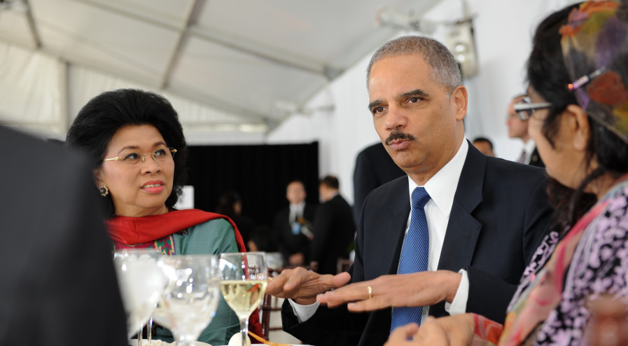 United States Attorney General Eric Holder attends the High-level Lunch Event on Women's Access to Justice, co-hosted by Finland, South Africa and UN Women on 24 September 2012. Mr. Holder is seated with Linda Gumelar (right), Minister of  Women Empowerment and Child Protection of Indonesia, and Uza Azima Shakoor, Attorney General of Maldives.