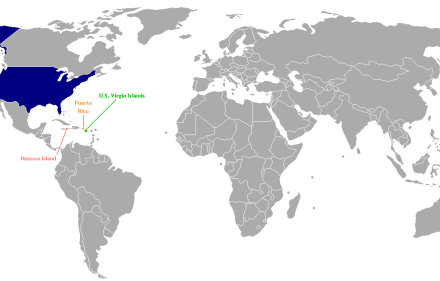 The US non-incorporated territories as determined by the Insular Cases. Source: Wikimedia Creative Commons License