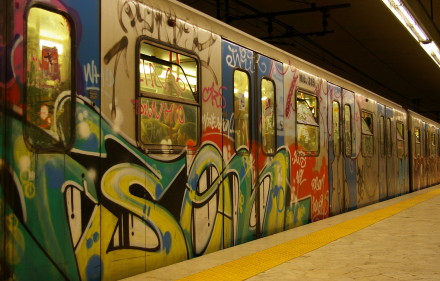 A vandalized subway train in Rome. Like many city services, Rome's mass transit grid suffers from massive deficits and bureaucratic gridlock.
