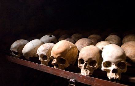 Skulls of Tutsi victims. Wikimedia Commons. Creative Commons License.