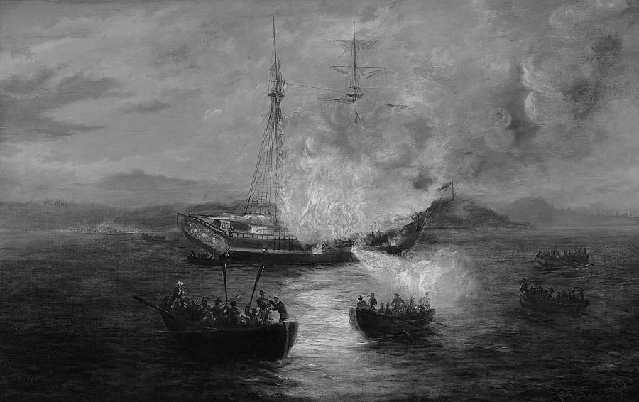 Brownell, The Burning of the Gaspee. Image courtesy of Brown 250+ Timeline and Rhode Island Historical Society.