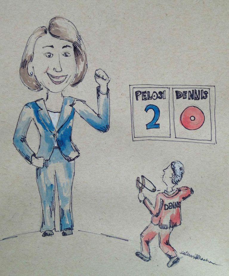 John Dennis is running against Majority Leader Pelosi this November Art by Katrina Machado