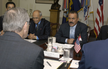 SD Rumsfeld host visit by President Ali Abdallah Salih of the Re
