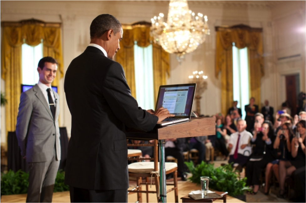 President Obama is seen here responding to tweets prompted with the #askobama hashtag. This townhall social media initiative garnered 110,000 tweets, through which he could connect with the constituents, allowing them to dictate the direction and tempo of the conversation.