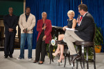 """Audrey Rowe, Administrator, Food Nutrition Service introduces Art Monk National Football League Hall of Famer (left) and La Var Arrington, three time Pro-Bowler (right) to Mika Brzezinski and Former Congressman Joe Scarborough (R-Fla.) hosts of MSNBC's """"Morning Joe."""" Rowe spoke about the Fuel Up to Play 60 program at the United States Department of Agriculture 150th Anniversary celebration in Washington, DC Tuesday, May 15, 2012. Fuel Up to Play 60 is an in-school nutrition and physical activity program launched by the National Dairy Council and the Nationjal Football League, in collaboration with USDA, to combat childhood obesity. Fuel Up to Play 60 helps students make positive changes in their schools by improving opportunities to consume nutrient-rich foods and get at least 60 minutes of physical activity every day. The ultimate goal is to ensure changes made at school are sustainable and complements but does not compete with an academics-focused environment. USDA photo by Bob Nichols."""