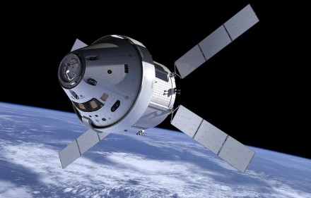 A design for the Orion Spacecraft, one of NASA's developing projects; Orion would launch from NASA's Space Launch System in Florida, carrying up to four astronauts to explore places at or below low Earth orbit.