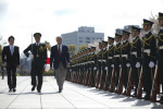 U.S. Secretary of Defense Chuck Hagel, center, reviews Japanese service members during an arrival ceremony with Japanese Minister of Defense Itsunori Onodera, left, in Tokyo April 6, 2014. (DoD photo by Erin A. Kirk-Cuomo/Released)