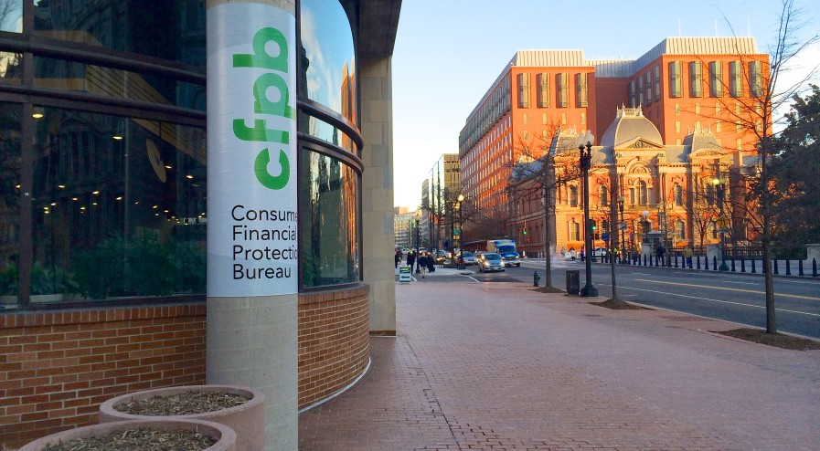 Exterior of the Consumer Financial Protection Bureau, Washington, DC USA