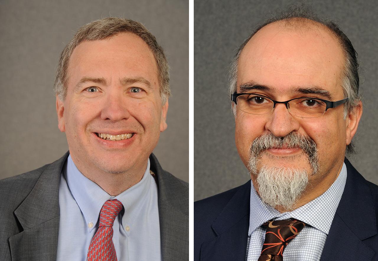 Left - David Makovsky headshot in suit and tie. Right - Ghaith Al-Omari headshot in suit and tie.