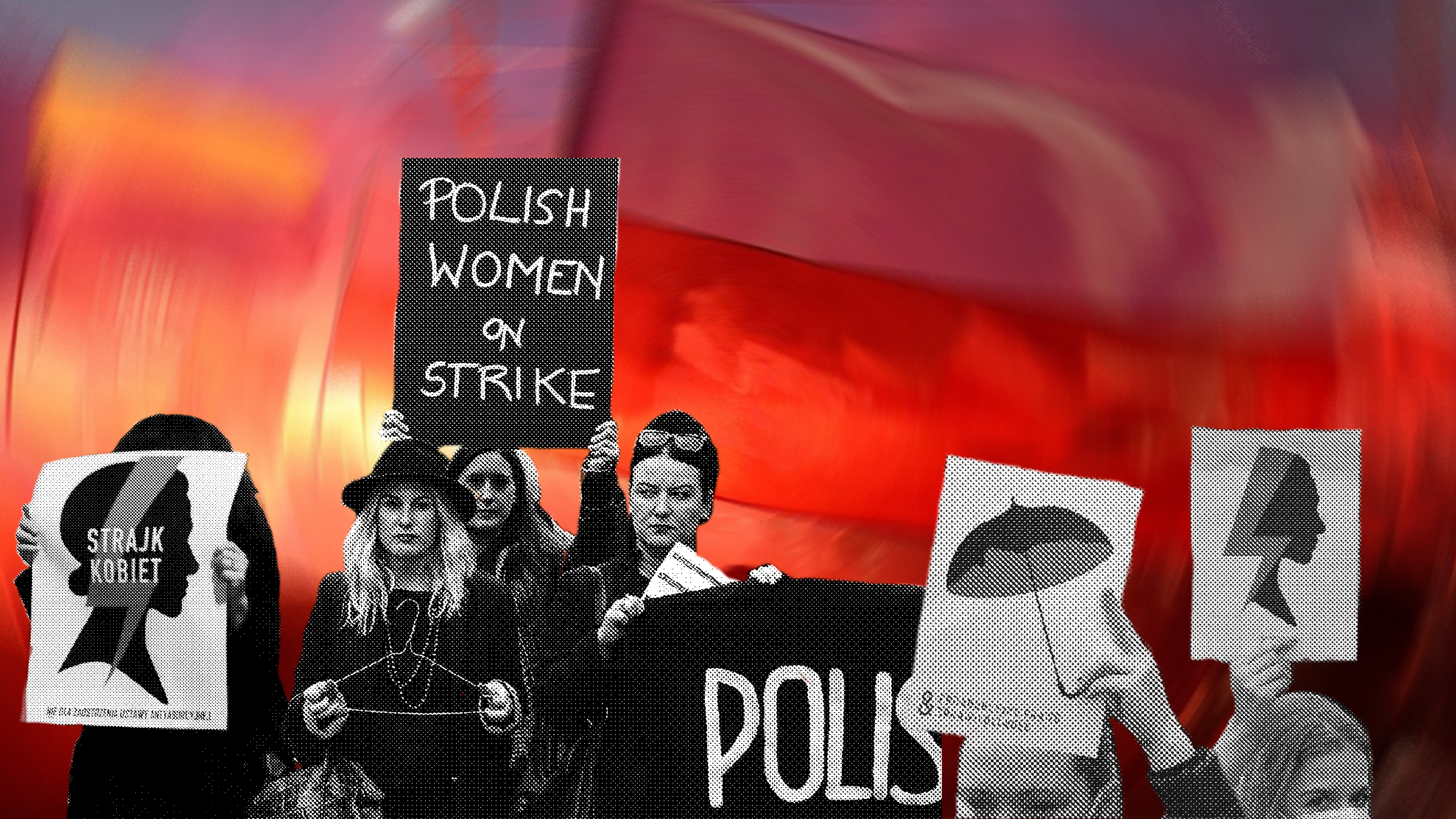 A red background lies behind Polish women protesting anti-abortion laws.