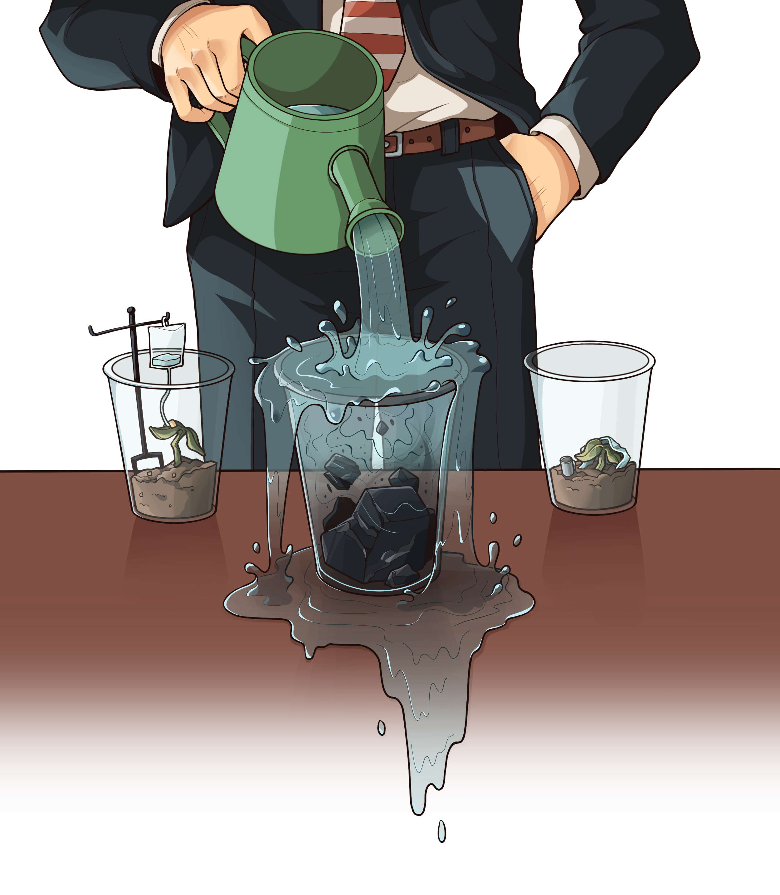 A man in a suit pours water into an overfilling cup of coal