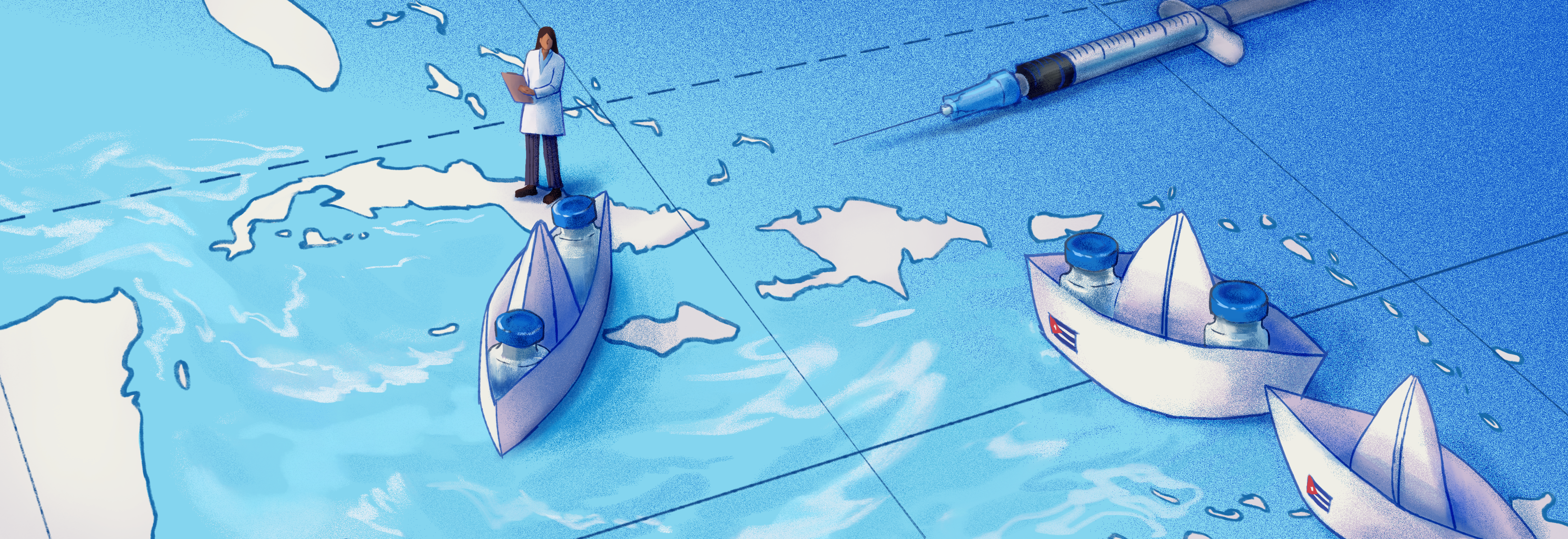 A digital illustration of a world map centered on the Caribbean region. A tiny person in a doctor's coat stands on top of Cuba. Three paper boats bearing a tiny Cuban flag depart from Cuba. Two of the paper boats hold two vaccine vials. A syringe needle also lies on top of the map in the corner.