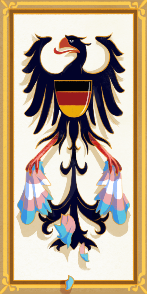 A black eagle representing the German coat of arms tears a trans flag to shreds.