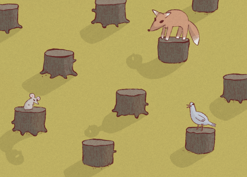 A field of sparse, cut down tree stumps with human shaped shadows with a few animals sitting on top.
